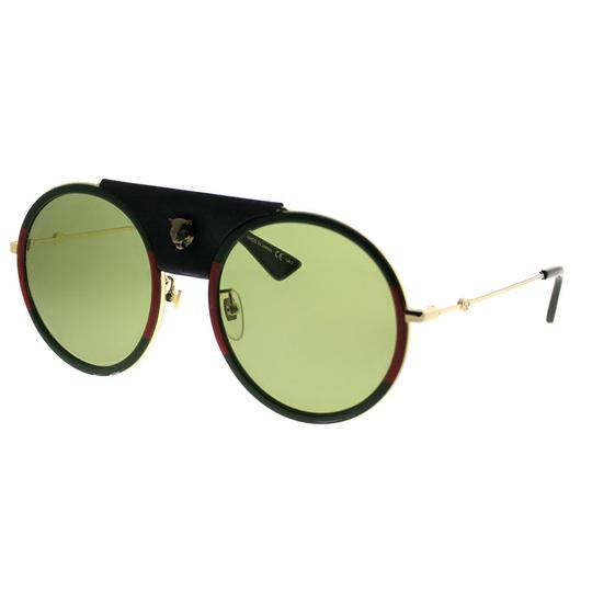 Gucci Gucci GG0061S 017 Red Green Metal Round Sunglasses Green Lens NEW! Image 5