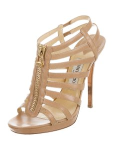 Jimmy Choo Cage Glenys 7.5 Strappy Nude Sandals
