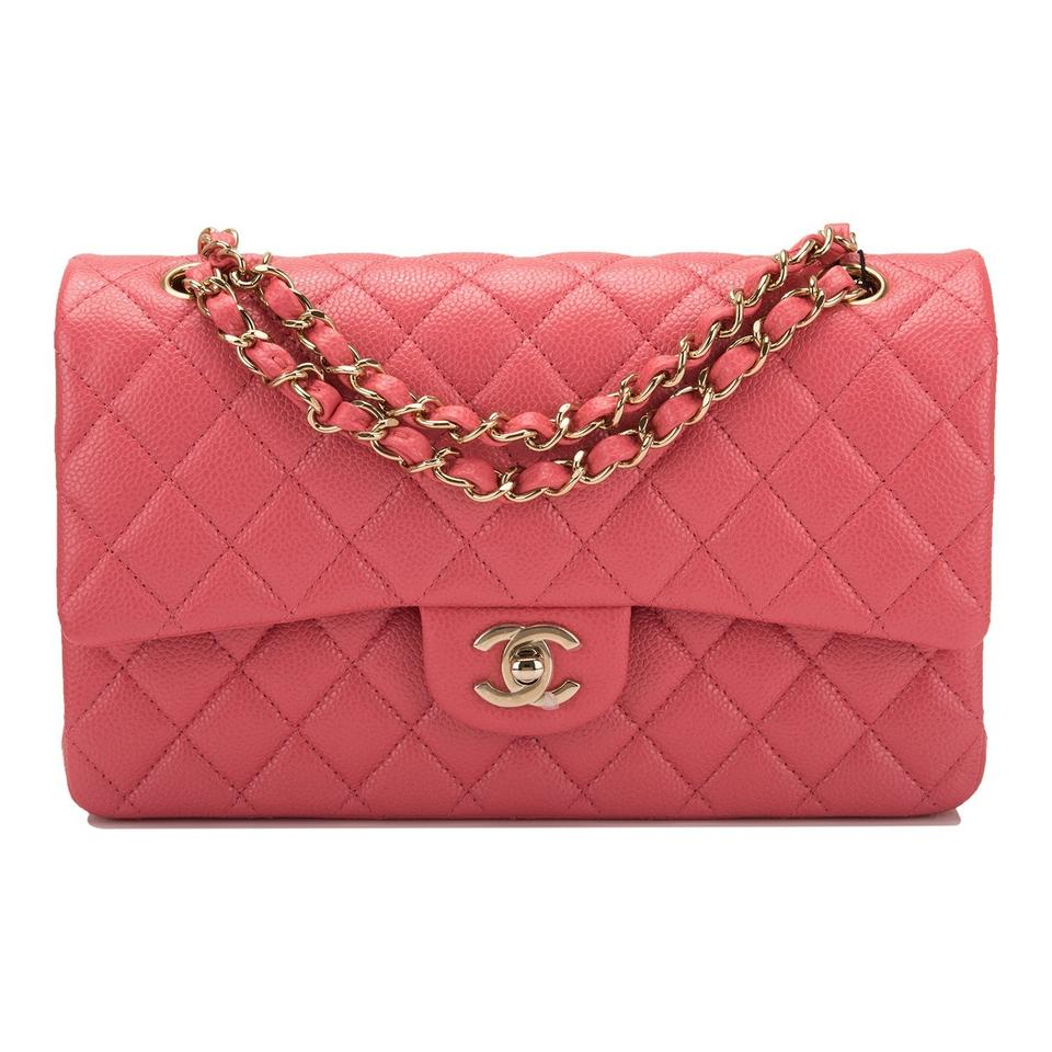 7d46d798254c Chanel Classic Flap Shiny Quilted Caviar Medium Classic Double Pink ...