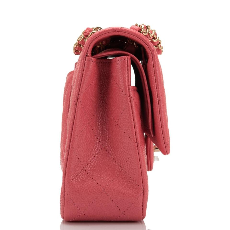 07aaa71253a4 Chanel Classic Flap Shiny Quilted Caviar Medium Classic Double Pink Leather Shoulder  Bag - Tradesy