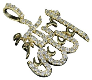 Jewelry Unlimited 10K Yellow Gold Real Diamond Arabic Allah Pendant 1 CT 1.25