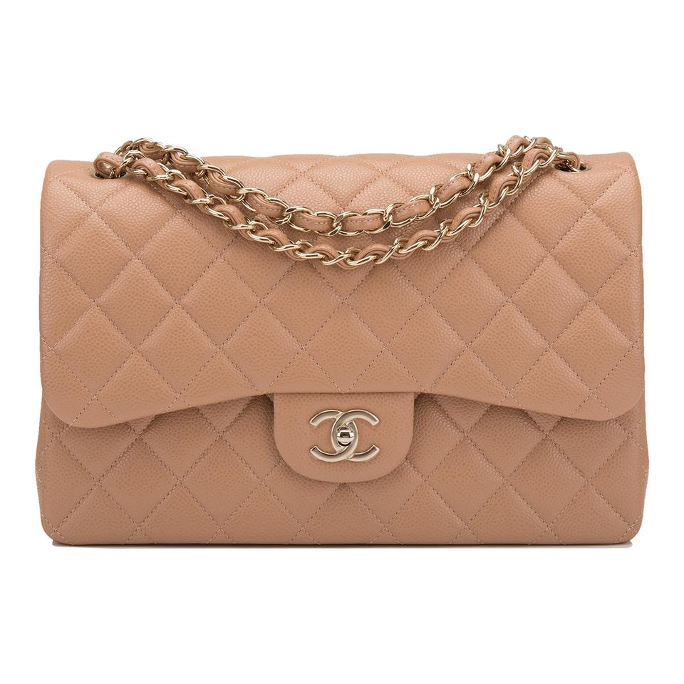 65f469548472 Chanel Classic Flap Shiny Quilted Caviar Jumbo Classic Double Beige ...