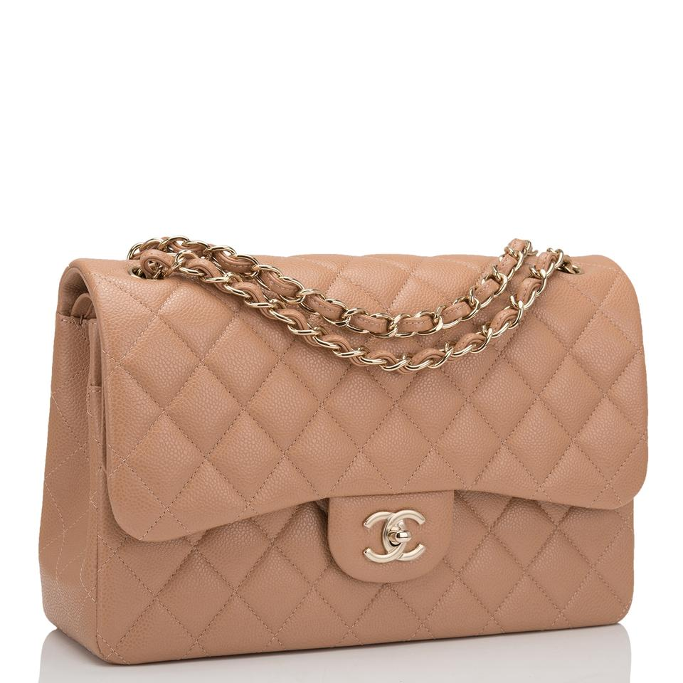 50c167cb61be4f Chanel Classic Flap Shiny Quilted Caviar Jumbo Classic Double Beige ...