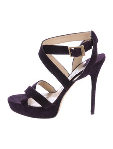 Jimmy Choo Suede Strappy 8 Plum Purple Sandals