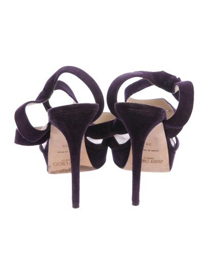 Jimmy Choo Suede Strappy 8 Plum Purple Sandals Image 1