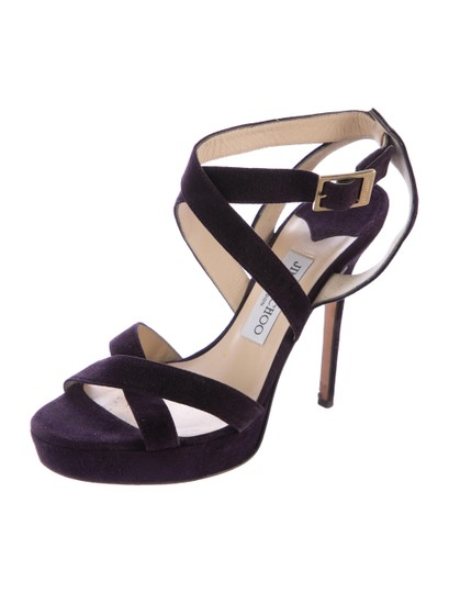 Jimmy Choo Suede Strappy 8 Plum Purple Sandals Image 2