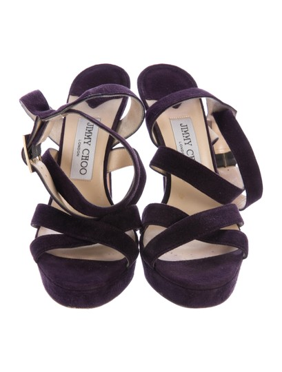 Jimmy Choo Suede Strappy 8 Plum Purple Sandals Image 3