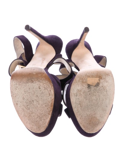 Jimmy Choo Suede Strappy 8 Plum Purple Sandals Image 4