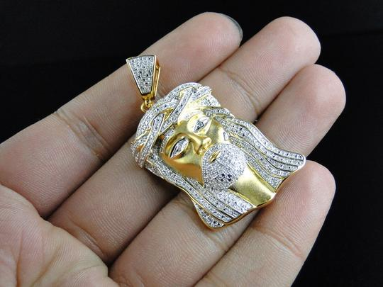 Jewelry Unlimited Yellow Gold Finish Real Diamond Jesus Face Piece Pendant 1.0 Ct Image 5