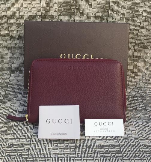 Gucci Authentic Oxblood Bordeaux Leather Zip Around Wallet -- 420113 Image 1