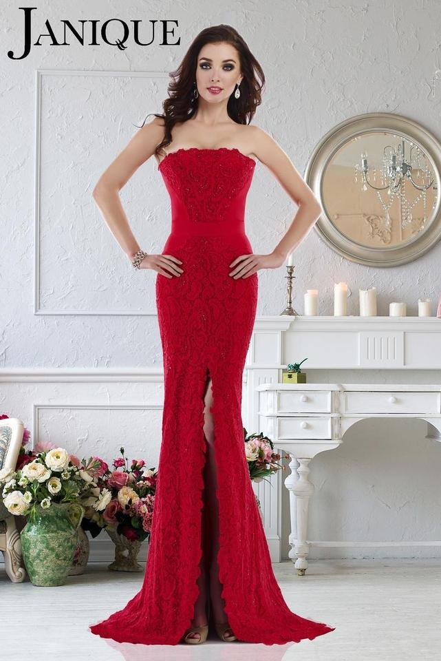 0c22342b16 Janique Red Evening Gown Formal Bridesmaid Mob Dress Size 12 (L) ...