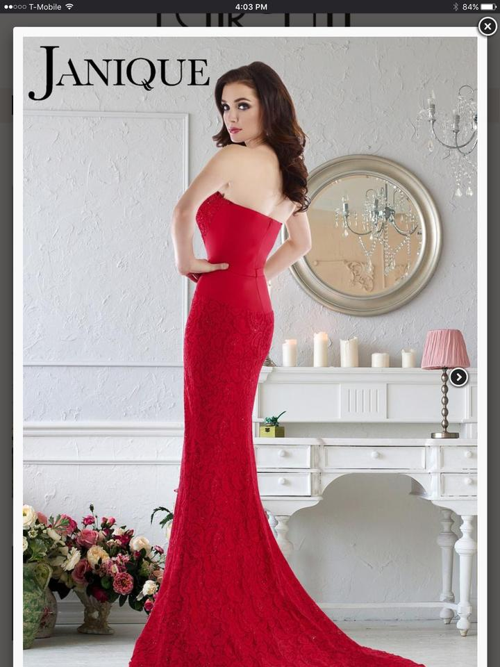 9060ea5bc0 Janique Red Evening Gown Formal Bridesmaid Mob Dress Size 12 (L). 123