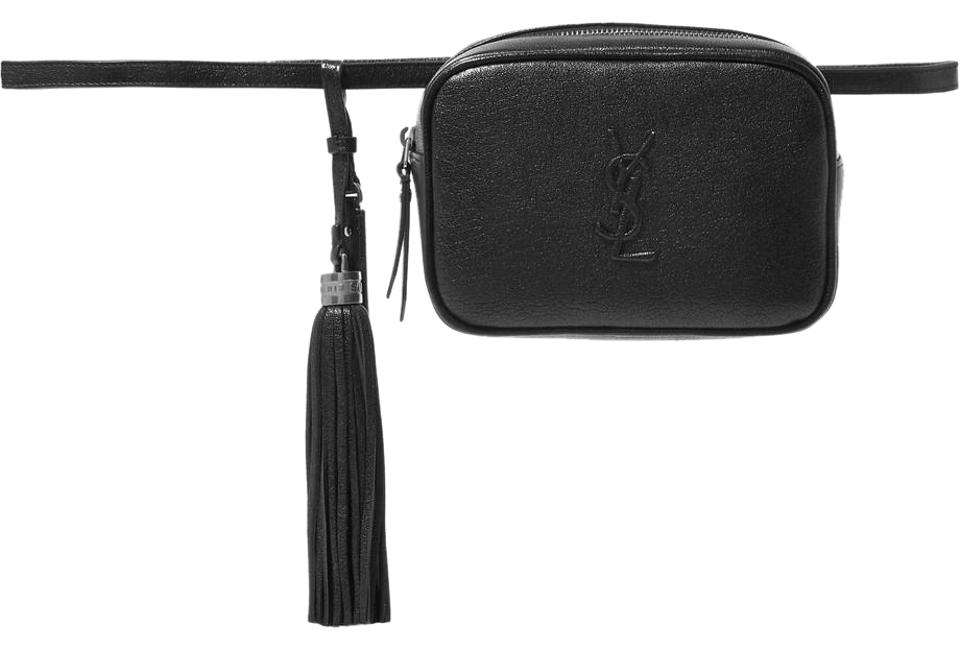 5bb53b0ddc5 Saint Laurent Loulou Monogramme Lou Textured-leather Belt Red Black ...