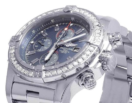 Breitling Custom Mens A13370 Super Avenger XL 48MM Diamond Watch 4.5 Ct Image 2
