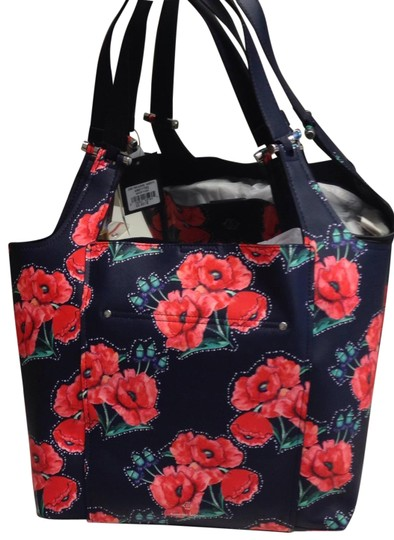 Preload https://img-static.tradesy.com/item/23277905/nanette-lepore-floral-navy-and-red-faux-leather-tote-0-1-540-540.jpg