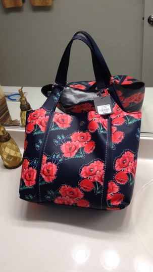 Nanette Lepore Floral Tote in Navy & Red Image 1