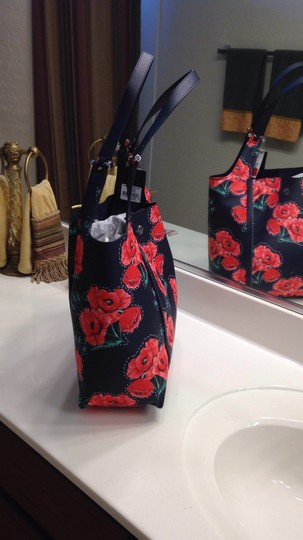 Nanette Lepore Floral Tote in Navy & Red Image 3