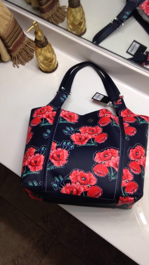 Nanette Lepore Floral Tote in Navy & Red Image 4