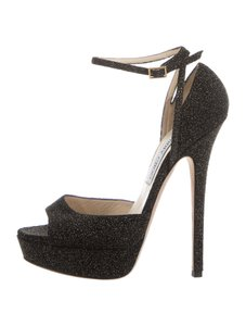 Jimmy Choo Shimmer Open-toe 9 Black Sandals