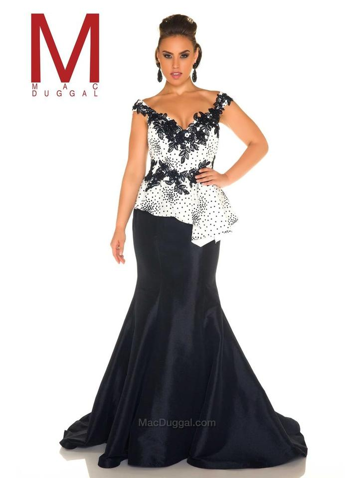 Mac Duggal Couture Black And White Evening Gown Long Formal Dress