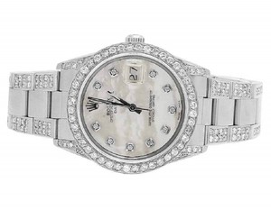 Rolex Date 1501 Oyster Pepetual 34MM White MOP Dial Diamond Watch 9.5 Ct