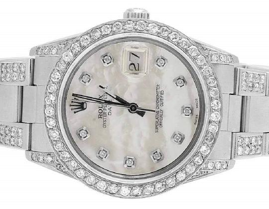 Rolex Date 1501 Oyster Pepetual 34MM White MOP Dial Diamond Watch 9.5 Ct Image 1