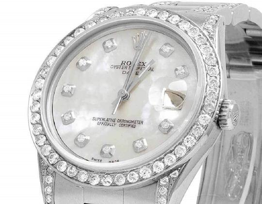 Rolex Date 1501 Oyster Pepetual 34MM White MOP Dial Diamond Watch 9.5 Ct Image 2