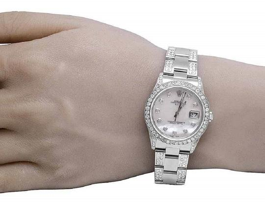 Rolex Date 1501 Oyster Pepetual 34MM White MOP Dial Diamond Watch 9.5 Ct Image 7