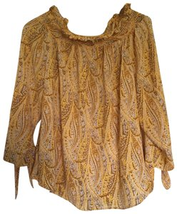 MICHAEL Michael Kors Mk Top Golden Yellow Paisley