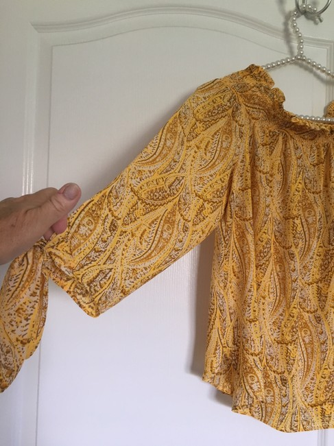 MICHAEL Michael Kors Mk Top Golden Yellow Paisley Image 1