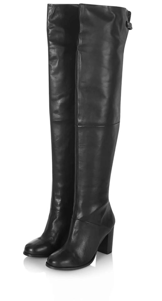 3d7d2010eee431 Topshop Black Bell Leather Thigh High Boots Booties Size EU 38 ...