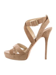 Jimmy Choo Vamp Suede 9 Strappy Nude Sandals