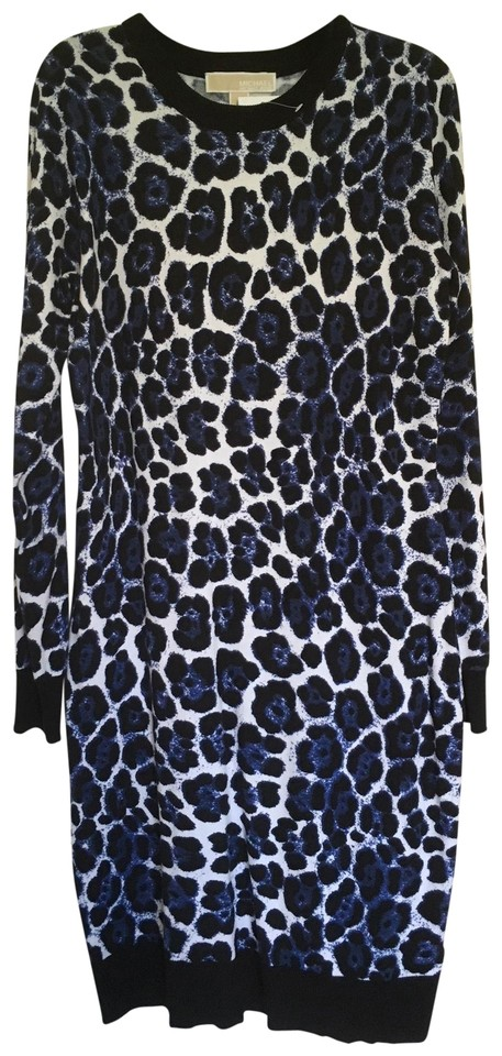 f6766115fb44 Michael Kors Royal Blue White Black Leopard Print Fashion Basics Casual  Dress