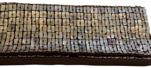 Moyna white and brown Clutch