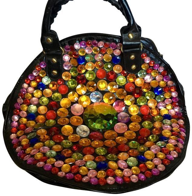 Item - Large Colorful Crystals Multicolor Pvc Hobo Bag