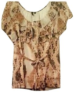 Private Label by G Top cheetah print off white,gold,brown,black