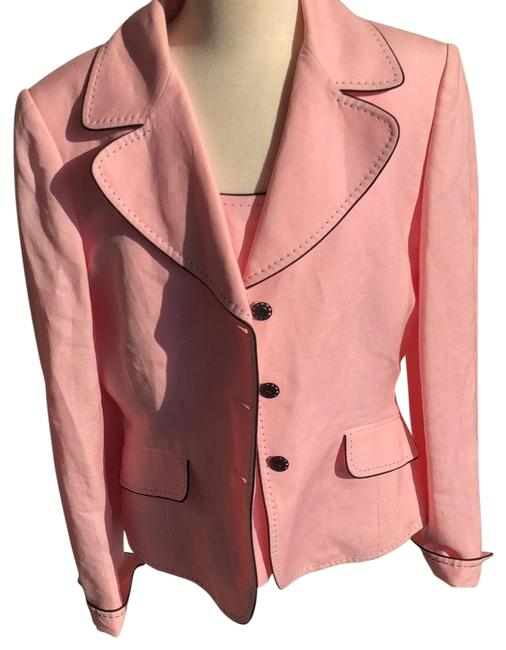Item - Soft Pink with Black Stitching Is Solid Black Arthur S. Levine Skirt Suit Size Petite 8 (M)