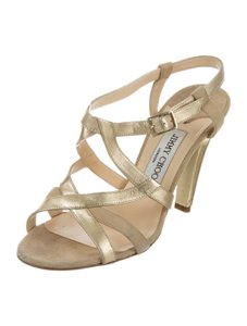 Jimmy Choo Strappy 8.5 Multistrap Gold Sandals