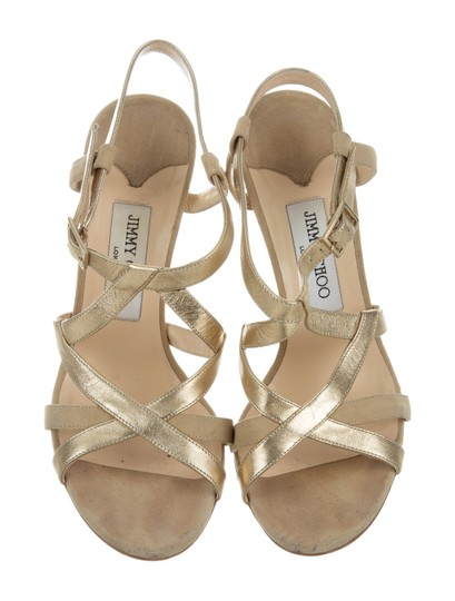 Jimmy Choo Strappy 8.5 Multistrap Gold Sandals Image 4