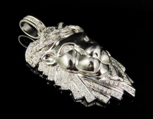Jewelry Unlimited 10K White Gold Real Diamond Lion Face Pendant 1.16 CT 2