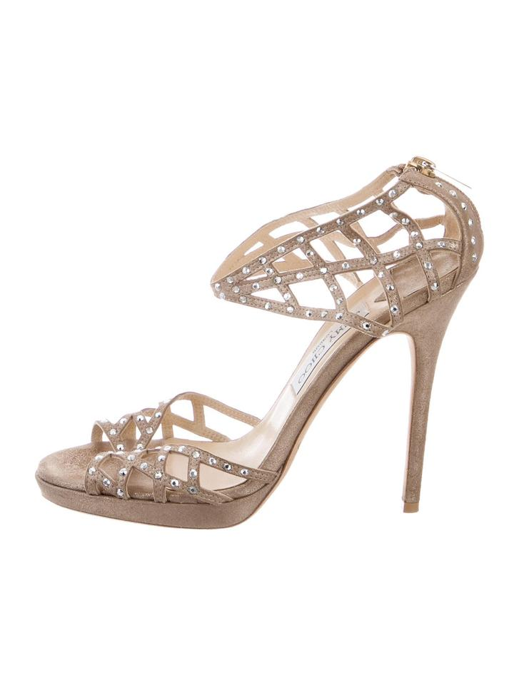 fd075d59c07 Jimmy Choo Nude Suede Leather Embellished Metallic Sandals Size US 9 ...