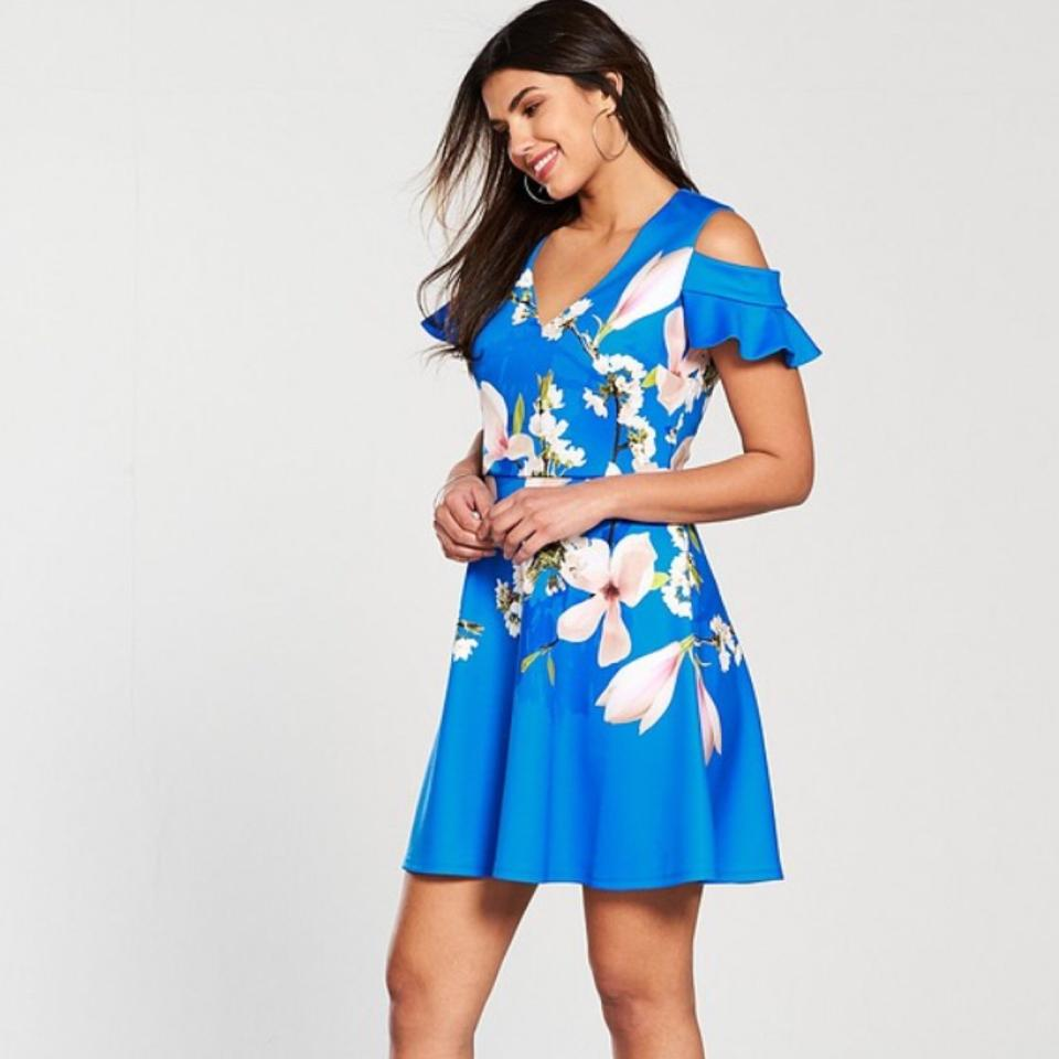 Ted Baker Bright Blue Ambre Harmony Cold Shoulder Short Cocktail ...