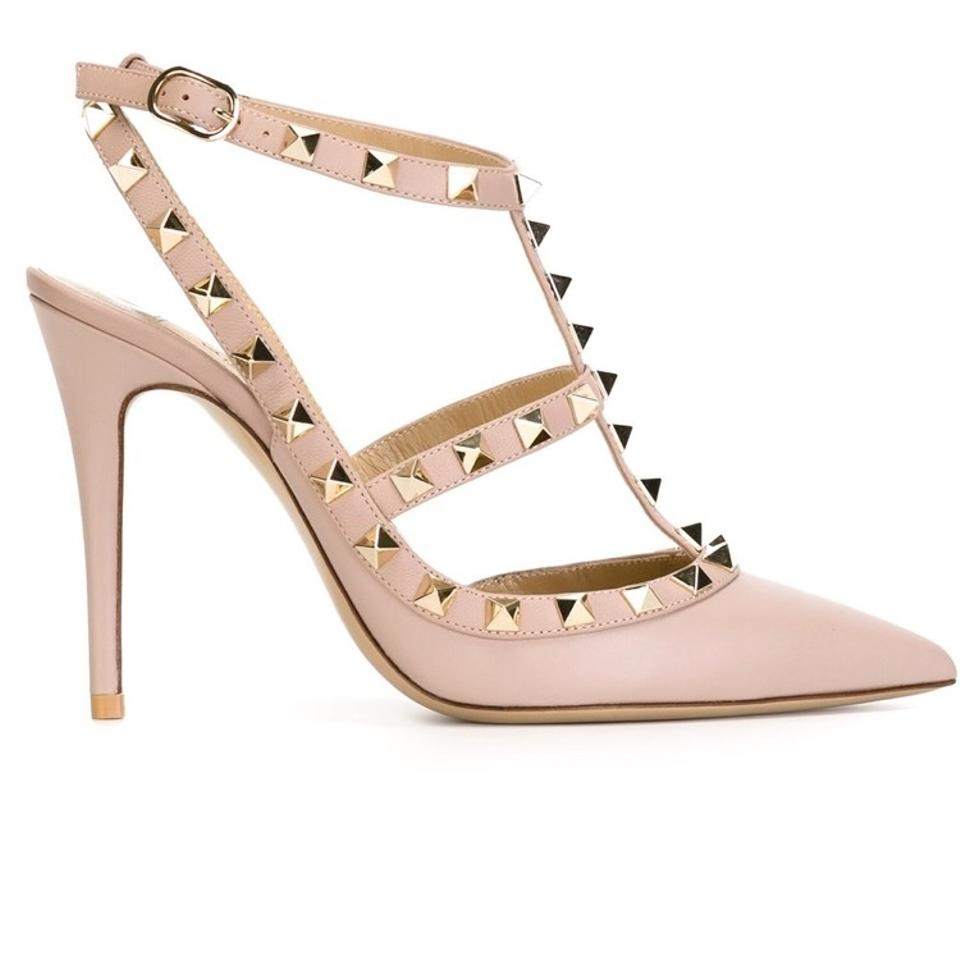 cd58c1a0ed51 Valentino Nude Blush Pink Rockstud 100 T-strap Studded Matte Leather ...
