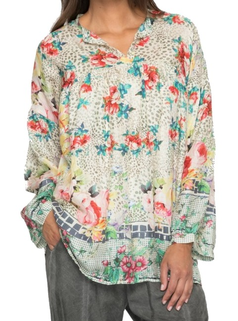 Johnny Was Flowy Silk Habutai Mandarin Collar Silk Covered Buttons Cinched Cuff Top Multi Color Image 1