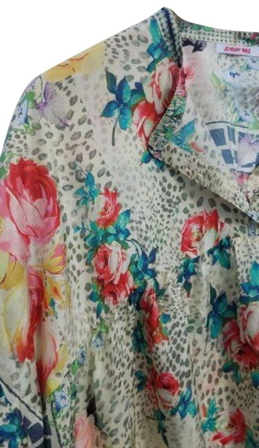 Johnny Was Flowy Silk Habutai Mandarin Collar Silk Covered Buttons Cinched Cuff Top Multi Color Image 6