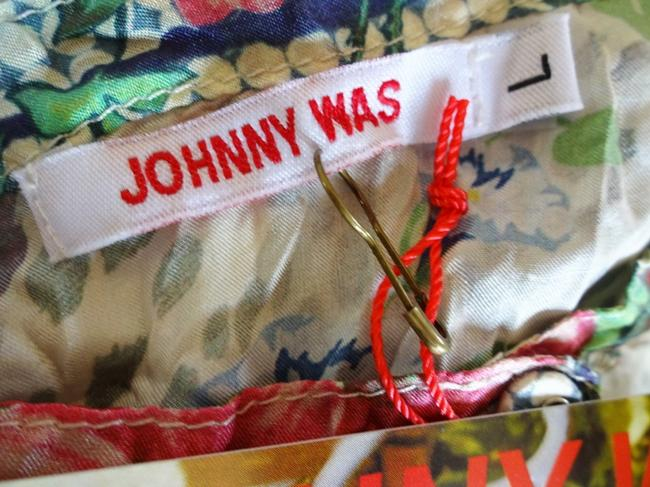 Johnny Was Flowy Silk Habutai Mandarin Collar Silk Covered Buttons Cinched Cuff Top Multi Color Image 8