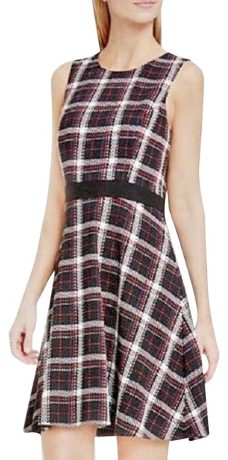 Item - Black / White / Red Sleeveless Harbor Plaid Print Sz. Mid-length Casual Maxi Dress Size 8 (M)