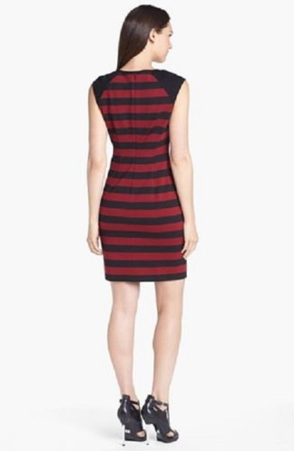 Red and Black Maxi Dress by Vince Camuto Striped Stripes Color-blocking Cap Sleeves Image 1