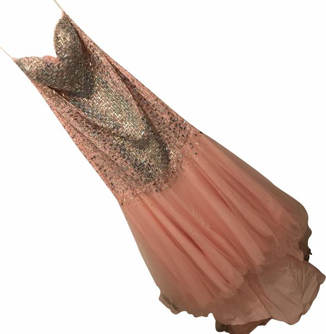 Item - Pink Silver New Glamour Long Formal Dress Size 10 (M)