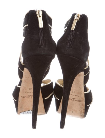 Jimmy Choo Suede Gold Black Sandals Image 1